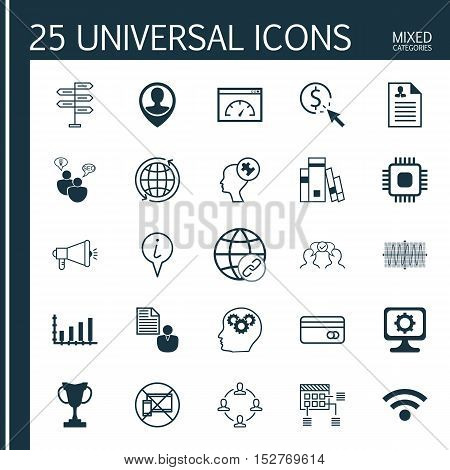 Set Of 25 Universal Editable Icons For Computer Hardware, Travel And Management Topics. Includes Ico
