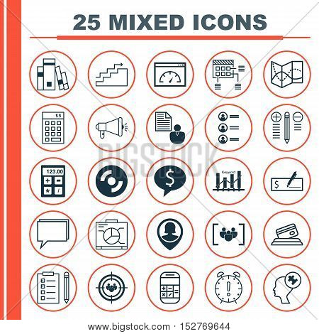 Set Of 25 Universal Editable Icons For Travel, Business Management And Advertising Topics. Includes