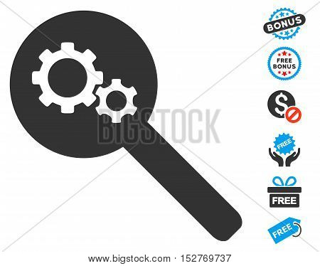 Search Gears Tool icon with free bonus graphic icons. Vector illustration style is flat iconic symbols, blue and gray colors, white background.