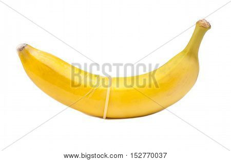 banana with condom isolated on white background
