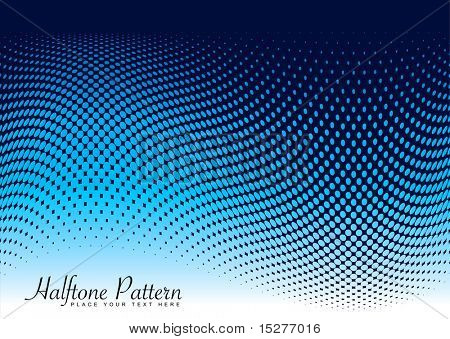 Abstract modern ocean wave background with halftone dots