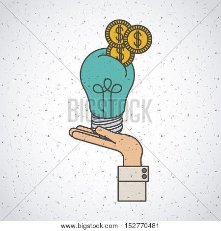 Light bulb and coins icon. Investment ideas profit and start up theme. Colorful and isolated design. Vector illustration