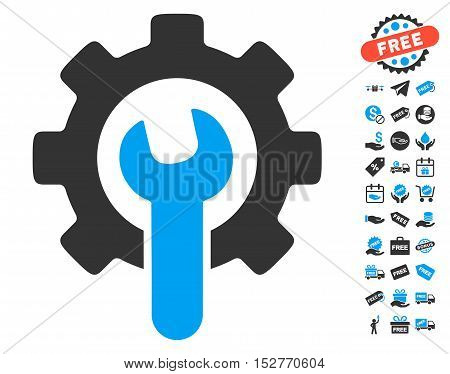 Service Tools pictograph with free bonus graphic icons. Vector illustration style is flat iconic symbols, blue and gray colors, white background.