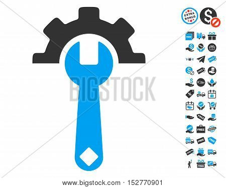 Service Tools pictograph with free bonus icon set. Vector illustration style is flat iconic symbols, blue and gray colors, white background.