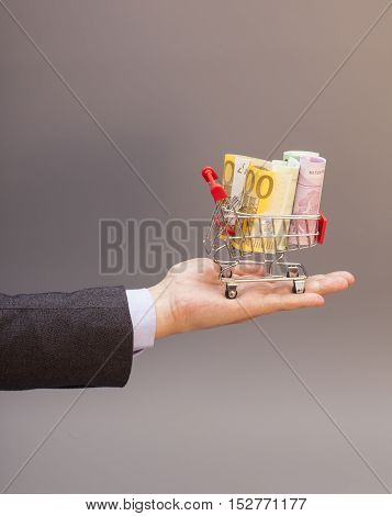 Shopping cart with euro banknotes on hand isolated on gray