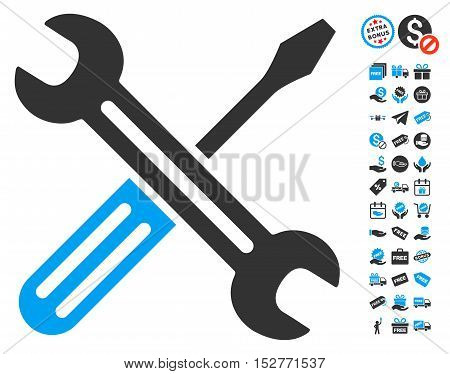 Spanner and Screwdriver icon with free bonus graphic icons. Vector illustration style is flat iconic symbols, blue and gray colors, white background.