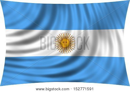Argentinian national official flag. Argentine Republic patriotic symbol banner element background. Flag of Argentina waving isolated on white 3d illustration