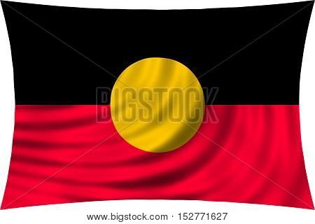 Australian Aboriginal official flag. Commonwealth of Australia patriotic symbol banner element background. Correct colors. Australian Aboriginal flag waving isolated on white 3d illustration