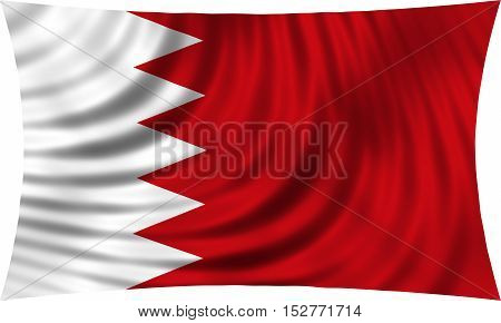 Bahraini national official flag. Patriotic symbol banner element background. Correct colors. Flag of Bahrain waving isolated on white 3d illustration
