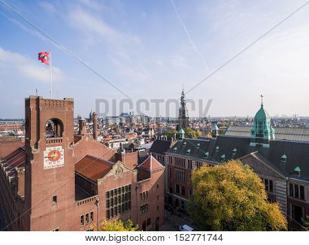 Aerial view at Amsterdam city, near exchange house