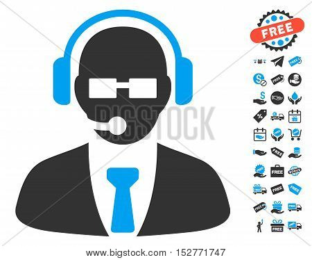 Support Manager icon with free bonus pictograms. Vector illustration style is flat iconic symbols, blue and gray colors, white background.