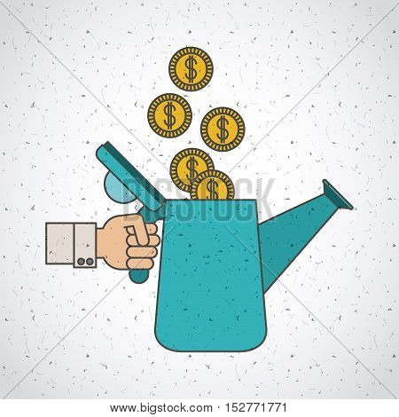 Water can and coins icon. Investment ideas profit and start up theme. Colorful and isolated design. Vector illustration