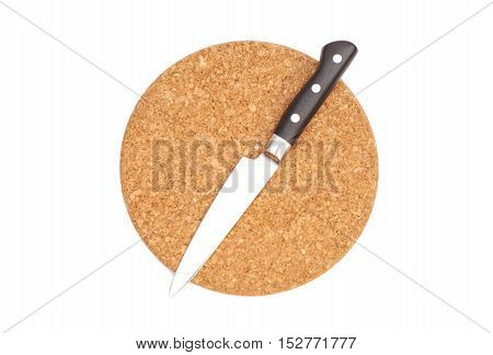 Breadboard with a knife isolated on a white background