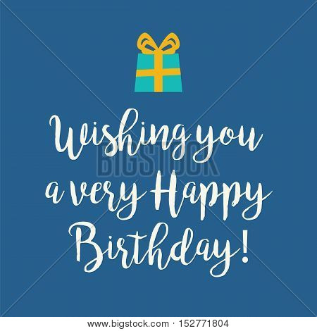 Cute Blue Happy Birthday Greeting Card
