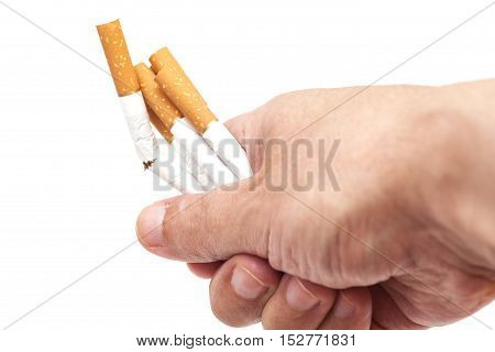 Addiction. Closeup of the broken cigarettes on man hand. Quit smoking