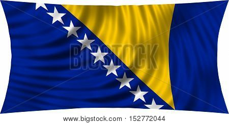 Bosnian and Herzegovinian national official flag. Patriotic symbol banner element background. Correct colors. Flag of Bosnia and Herzegovina waving isolated on white 3d illustration
