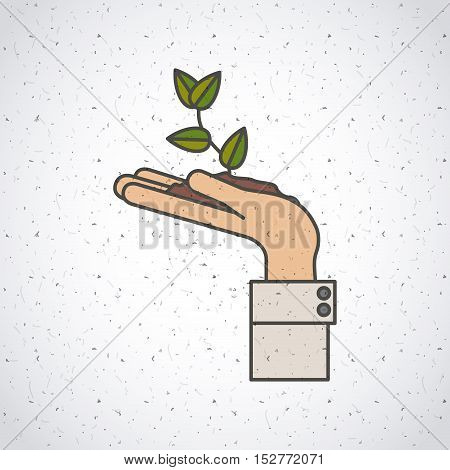 Plant over hand icon. Investment ideas profit and start up theme. Colorful and isolated design. Vector illustration