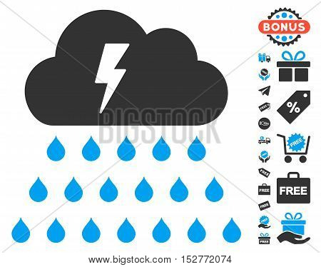 Thunderstorm Rain Cloud icon with free bonus pictograms. Vector illustration style is flat iconic symbols, blue and gray colors, white background.
