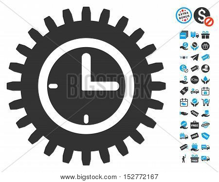 Time Options pictograph with free bonus symbols. Vector illustration style is flat iconic symbols, blue and gray colors, white background.