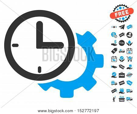 Time Setup Gear icon with free bonus design elements. Vector illustration style is flat iconic symbols, blue and gray colors, white background.