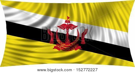 Bruneian national official flag. Patriotic symbol banner element background. Correct colors. Flag of Brunei waving isolated on white 3d illustration