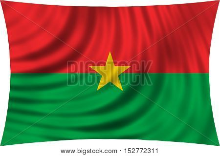 Burkina Faso national official flag. African patriotic symbol banner element background. Correct colors. Flag of Burkina Faso waving isolated on white 3d illustration