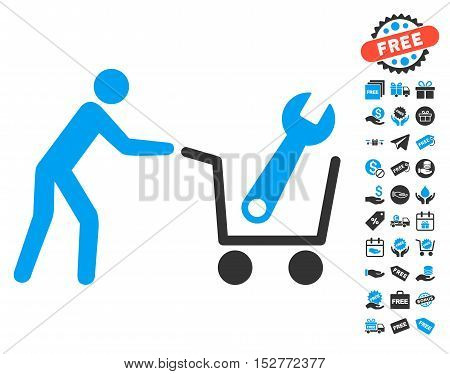 Tools Shopping pictograph with free bonus pictograph collection. Vector illustration style is flat iconic symbols, blue and gray colors, white background.