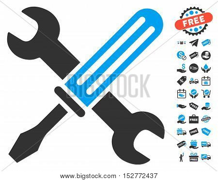 Tools pictograph with free bonus graphic icons. Vector illustration style is flat iconic symbols, blue and gray colors, white background.