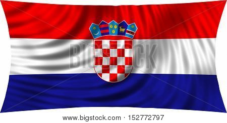 Croatian national official flag. Patriotic symbol banner element background. Correct colors. Flag of Croatia waving isolated on white 3d illustration