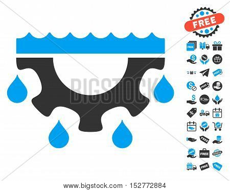 Water Gear Drops icon with free bonus pictures. Vector illustration style is flat iconic symbols, blue and gray colors, white background.