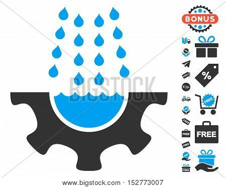 Water Shower Service Gear pictograph with free bonus icon set. Vector illustration style is flat iconic symbols, blue and gray colors, white background.