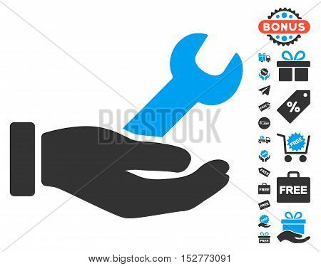 Wrench Service Hand icon with free bonus icon set. Vector illustration style is flat iconic symbols, blue and gray colors, white background.