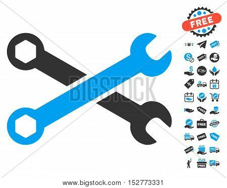 Wrenches icon with free bonus graphic icons. Vector illustration style is flat iconic symbols, blue and gray colors, white background.
