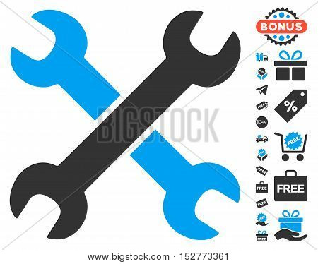 Wrenches pictograph with free bonus clip art. Vector illustration style is flat iconic symbols, blue and gray colors, white background.