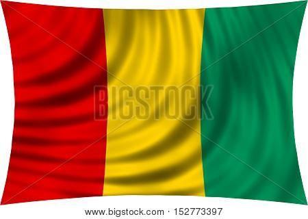 Guinean national official flag. African patriotic symbol banner element background. Correct colors. Flag of Guinea waving isolated on white 3d illustration