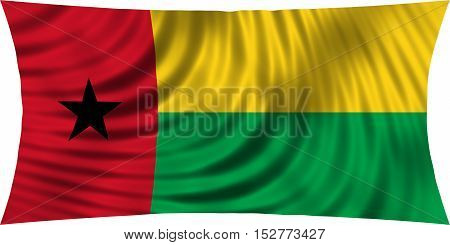 Bissau-Guinean national official flag. Patriotic symbol banner element background. Correct colors. Flag of Guinea-Bissau waving isolated on white 3d illustration