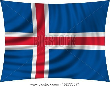Icelandic national official flag. Patriotic symbol banner element background. Correct colors. Flag of Iceland waving isolated on white 3d illustration