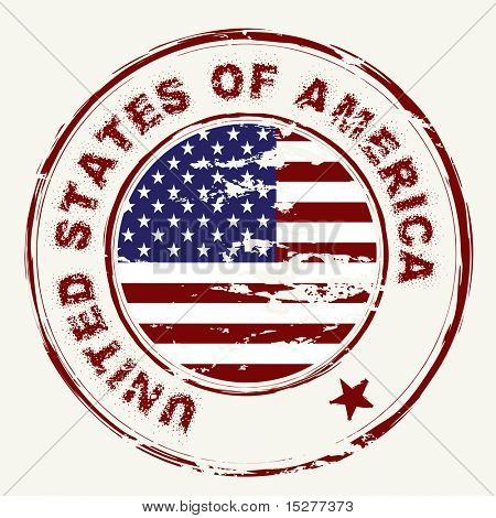 grunge american flag with rubber stamp and worn effect