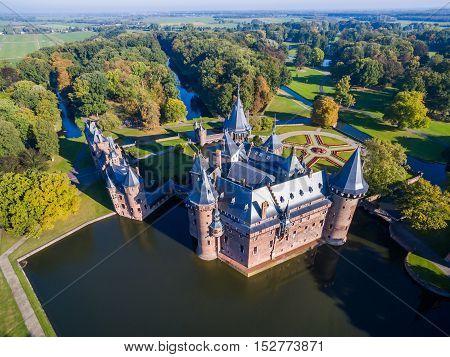 Aerial view of De Haar castle, Netherlands