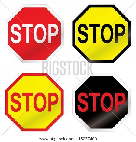 Four stop road sign with color variation ideal icon sets