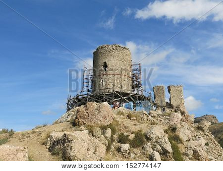ruins of ancient tower on top of a mountain