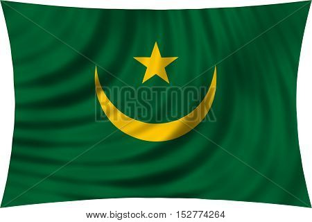 Mauritanian national official flag. African patriotic symbol banner element background. Correct colors. Flag of Mauritania waving isolated on white 3d illustration