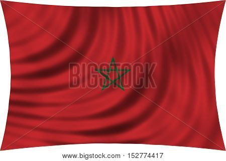 Moroccan national official flag. African patriotic symbol banner element background. Correct colors. Flag of Morocco waving isolated on white 3d illustration