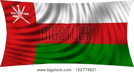 Omani national official flag. Patriotic symbol banner element background. Correct colors. Flag of Oman waving isolated on white 3d illustration