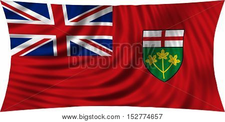 Ontarian provincial flag patriotic element and official symbol. Canada banner and background. Correct colors. Flag of the Canadian province of Ontario waving isolated on white 3d illustration