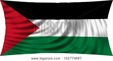 Palestinian national official flag. Patriotic symbol banner element background. Correct colors. Flag of Palestine waving isolated on white 3d illustration