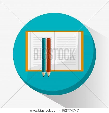 Pencils and book icon. Education literature and library theme. Colorful design. Vector illustration