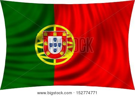 Portuguese national official flag. Patriotic symbol banner element background. Correct colors. Flag of Portugal waving isolated on white 3d illustration