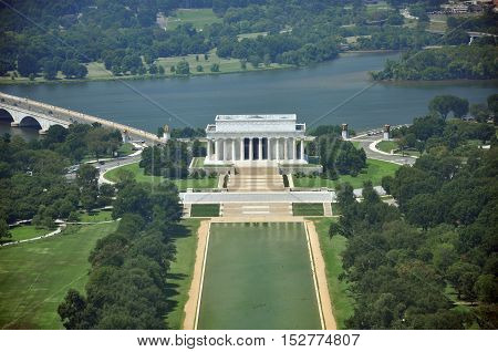 Aerial View from Washington Monument Aerial View of Lincoln Memorial from the top of Washington Monument in Washington DC, USA.