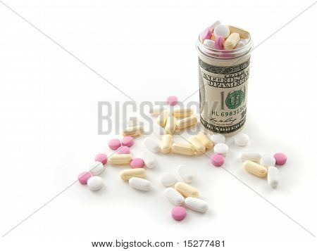 Pills In A Bottle Made Of Money